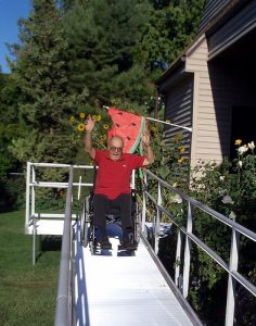 Grandpa Trying Out His New Wheelchair Ramp